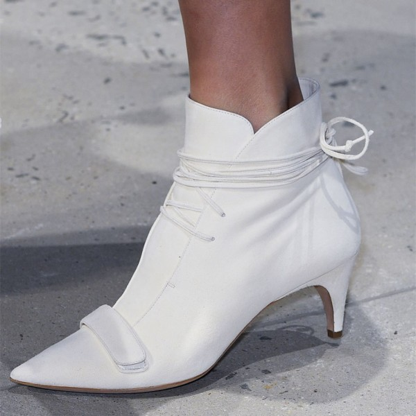 White Fashion Boots Kitten Heel Pointy Toe Strappy Ankle Booties image 7
