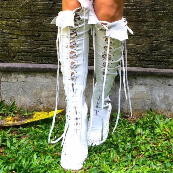 White Lace Up Boots Strappy Flat Knee High Boots image 3
