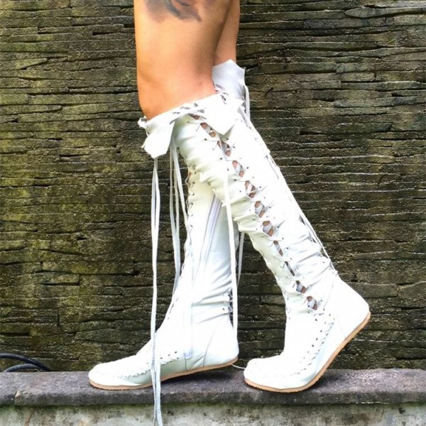 White Lace Up Boots Strappy Flat Knee High Boots image 2