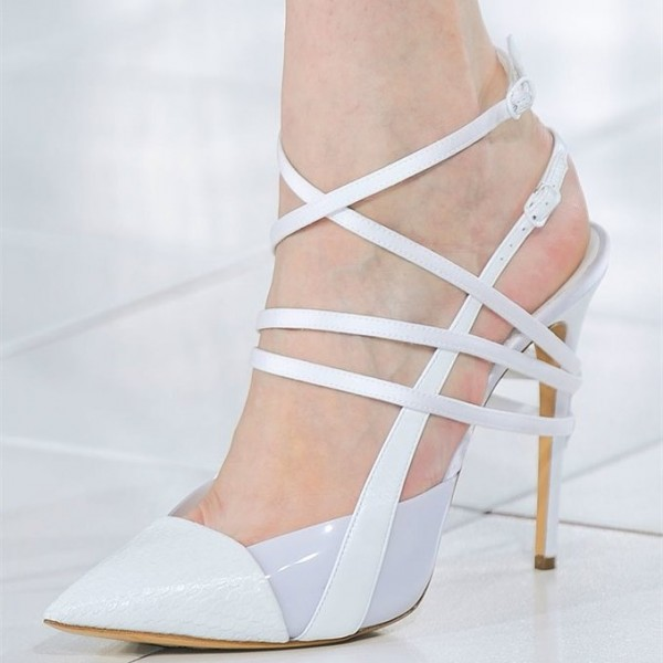 White Strappy Sandals Slingback Pointy Toe Stiletto Heels image 1