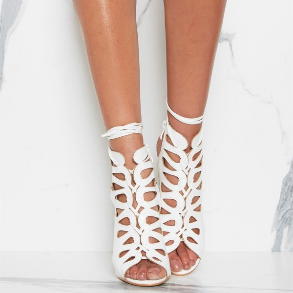 White Front Lace up Heels Peep Toe Strappy Stiletto Heels image 4
