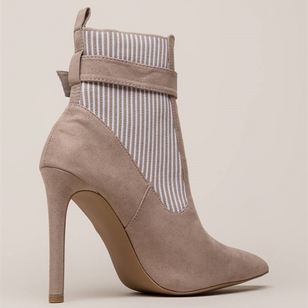 White Stripes Taupe Pointy Toe Stiletto Heel Buckle Ankle Booties image 2
