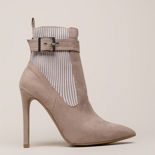 White Stripes Taupe Pointy Toe Stiletto Heel Buckle Ankle Booties image 3