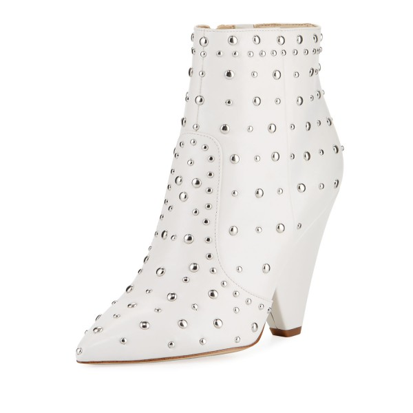 White Fall Boots Pointy Toe Cone Heel Studs Ankle Boots image 1