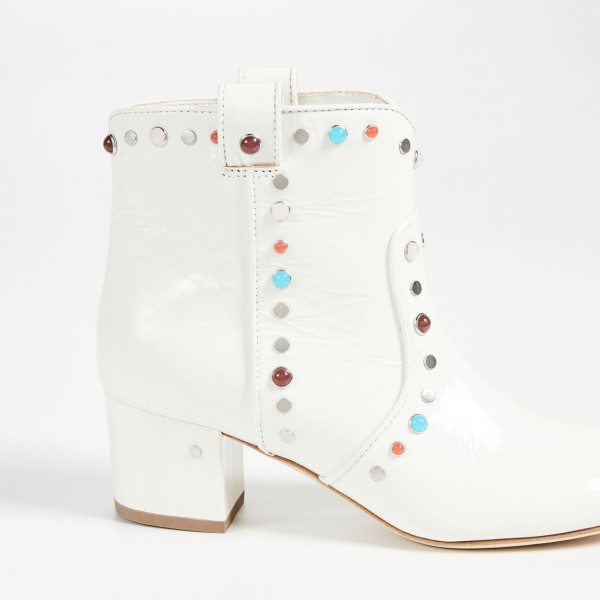 White Studs Low Heel Cowgirl Boots Colors Rhinestone Ankle Booties image 3
