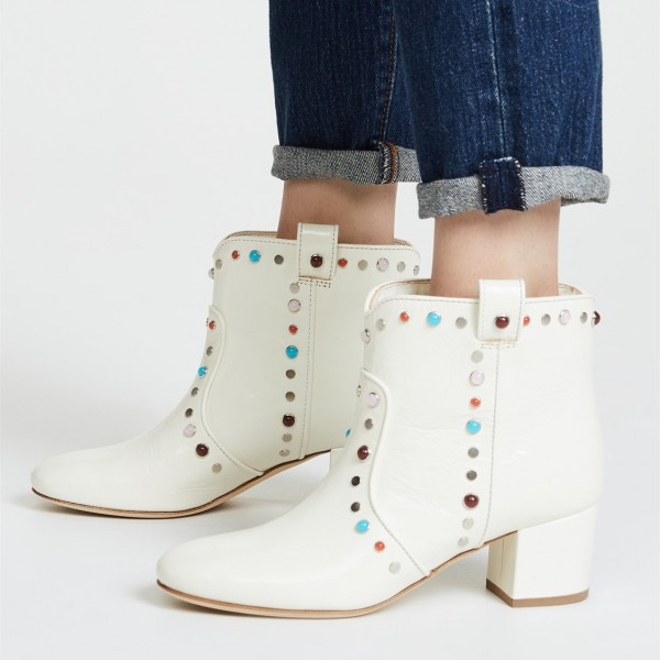 White Studs Low Heel Cowgirl Boots Colors Rhinestone Ankle Booties image 1