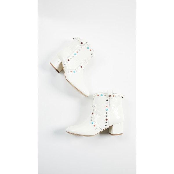 White Studs Low Heel Cowgirl Boots Colors Rhinestone Ankle Booties image 5
