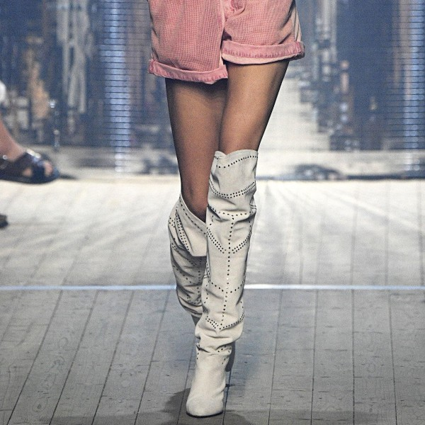White Suede Slouch Boots Cone Heel Knee High Boots image 1