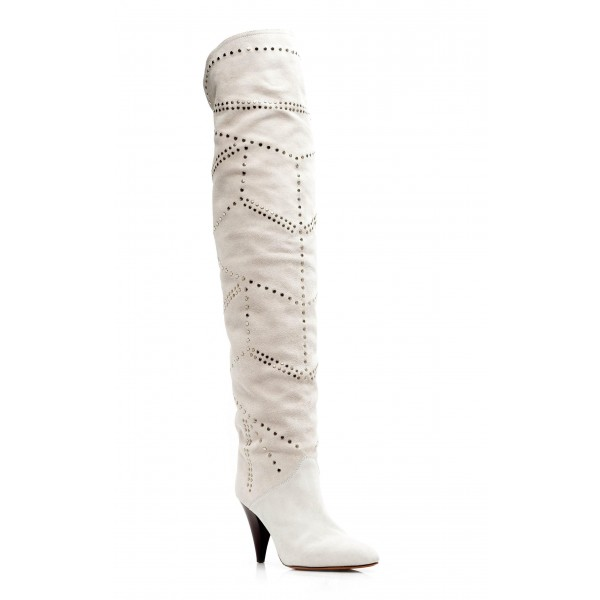 White Suede Slouch Boots Cone Heel Knee High Boots image 2