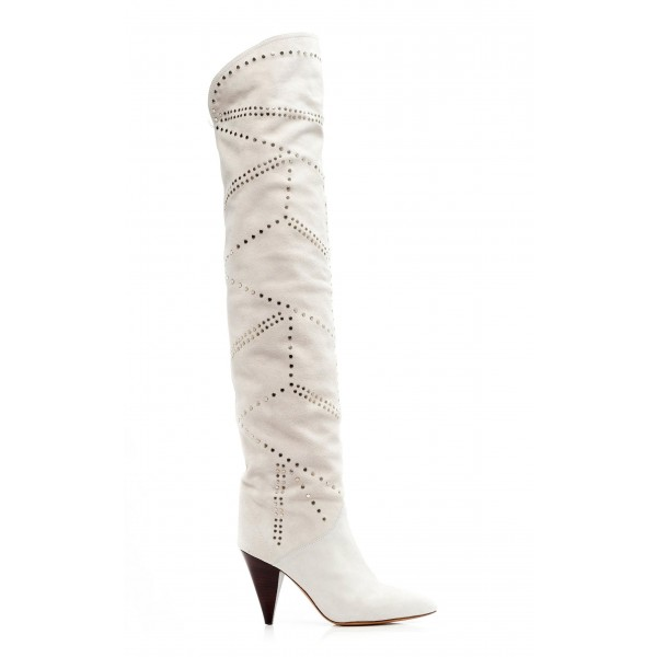 White Suede Slouch Boots Cone Heel Knee High Boots image 5