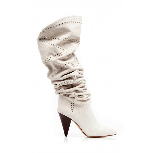 White Suede Slouch Boots Cone Heel Knee High Boots image 6