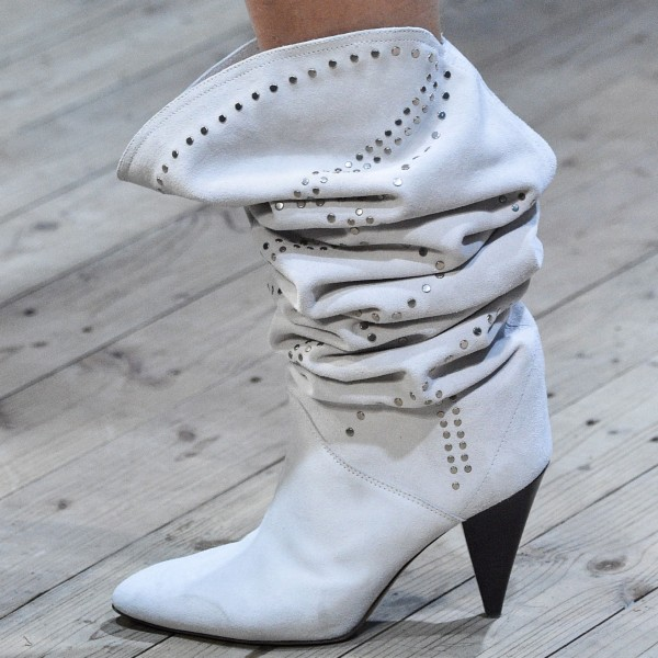 Off-white Suede Studs Cone Heel Slouch Boots image 1