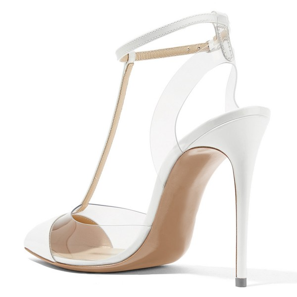 White T Strap Sandals Ankle Strap Clear Sandals image 3