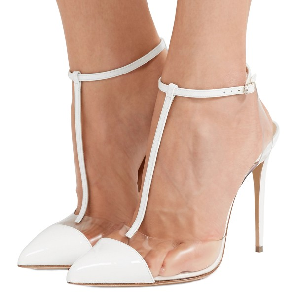 White T Strap Sandals Ankle Strap Clear