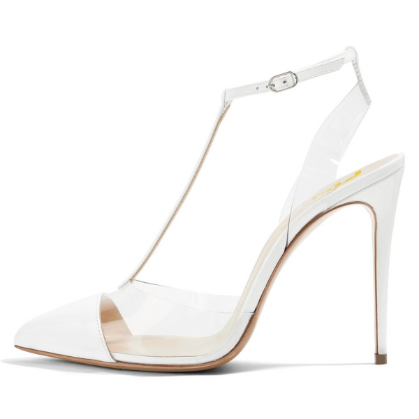 White T Strap Sandals Ankle Strap Clear Sandals image 2