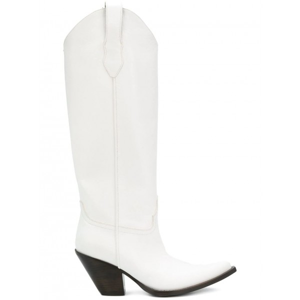 White Vegan Leather Cowgirl Boots Chunky Heel Mid Calf Boots image 3