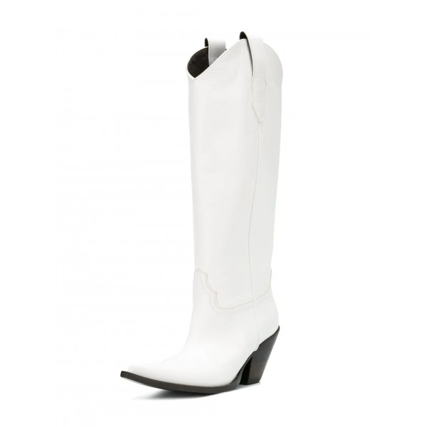 White Vegan Leather Cowgirl Boots Chunky Heel Mid Calf Boots image 1