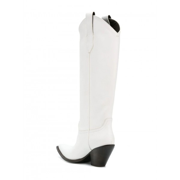 White Vegan Leather Cowgirl Boots Chunky Heel Mid Calf Boots image 4