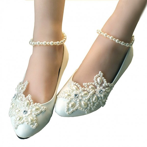Women's White Pearl Ankle Strap Decorated Flats Bridal Shoes  image 3