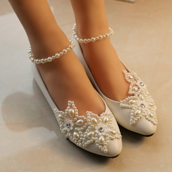 Women's White Pearl Ankle Strap Decorated Flats Bridal Shoes  image 4