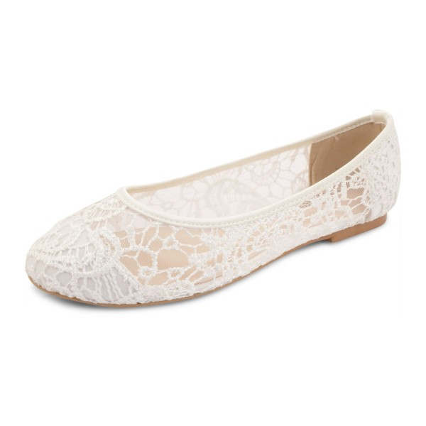 White Wedding Flats Lace Comfortable Shoes For Bridesmaid For Wedding Big Day Engagement Fsj