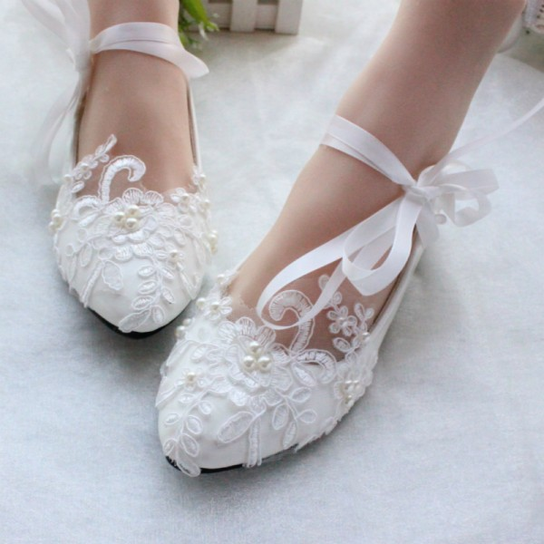 Women's White Wedding Shoes Lace Flora Strappy Cute Bridal Shoes  image 1