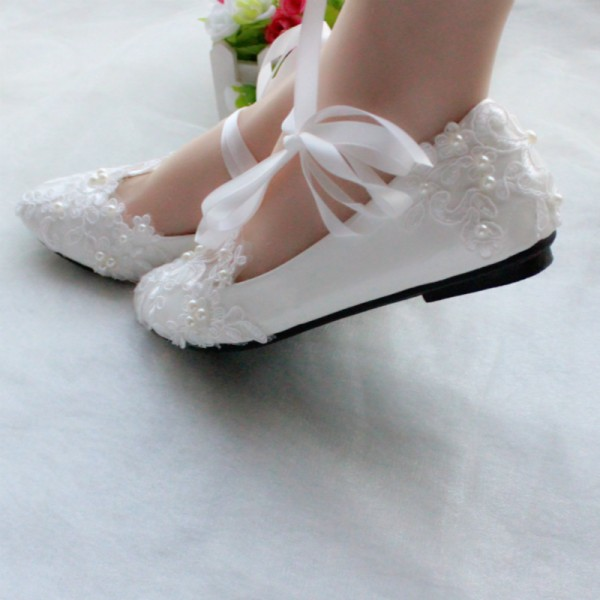 Women's White Wedding Shoes Lace Flora Strappy Cute Bridal Shoes  image 4