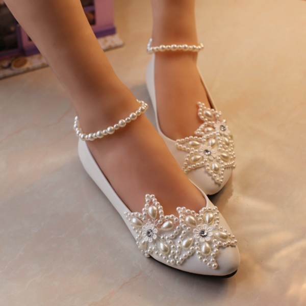 Women's White Pearl Ankle Strap Decorated Flats Bridal Shoes  image 5