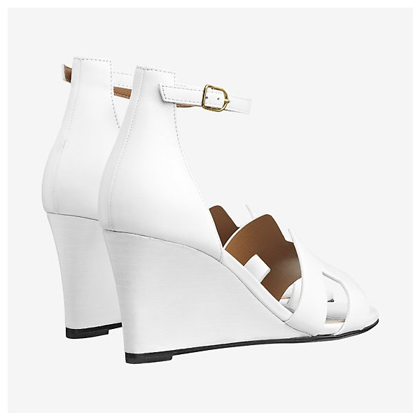 White Wedges Sandals Open Toe Ankle Strap Sandals image 3