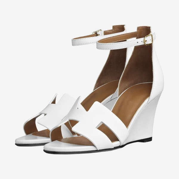 White Wedges Sandals Open Toe Ankle Strap Sandals image 1