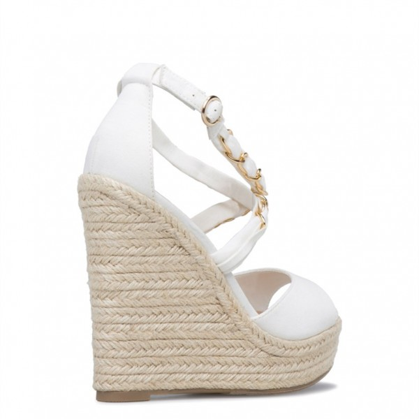 fd1db6a13a4 White Chain Crisscross Wedge Sandals Suede Platform Peep Toe Wedges