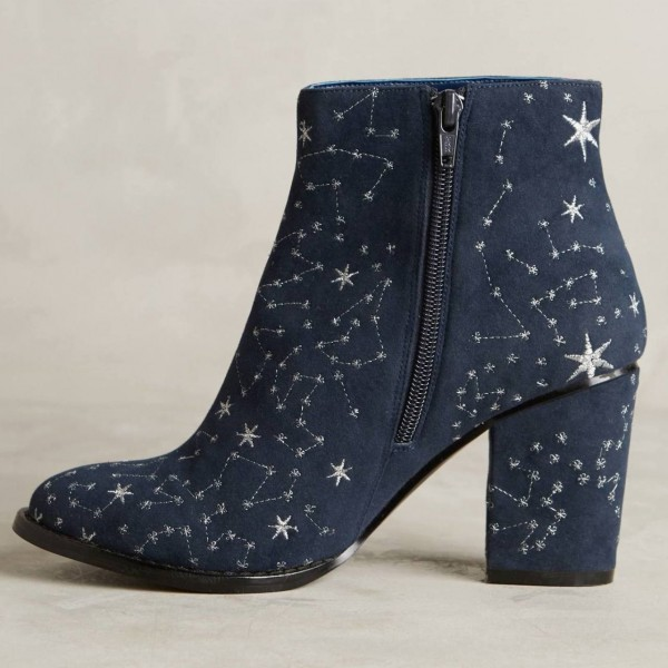 Women's Witch Navy Suede Floral Platform Chunky Heel Boots for Halloween image 1