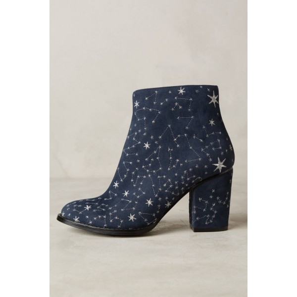 Women's Witch Navy Suede Floral Platform Chunky Heel Boots for Halloween image 2