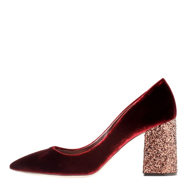 Women Maroon Sparkly Heels Velvet Chunky Heels Glitter Shoes image 1 ... 9d9abce48