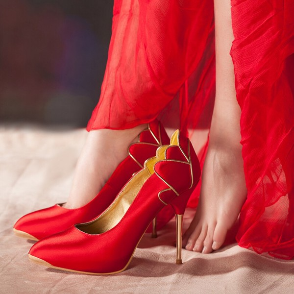 Women's Red Wedding Shoes Pointed Toe Stiletto Heels Pumps image 1