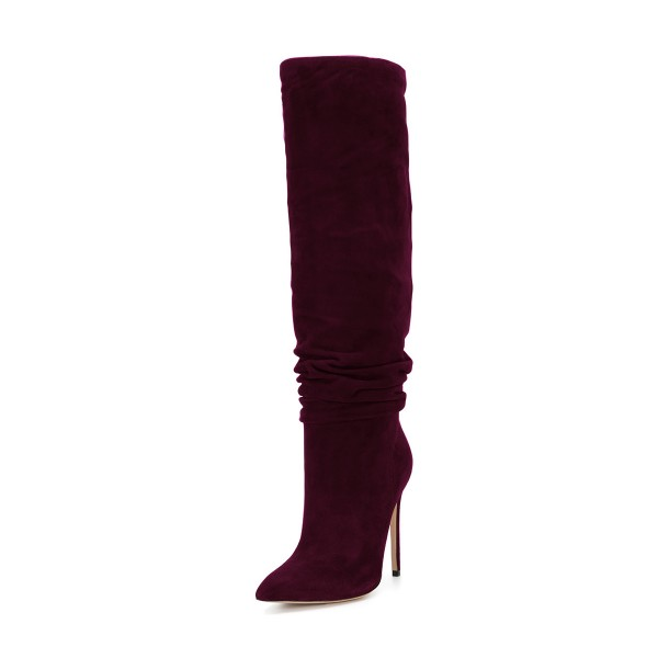 FSJ Burgundy Boots Suede Stiletto Heel Slouch Boots image 1