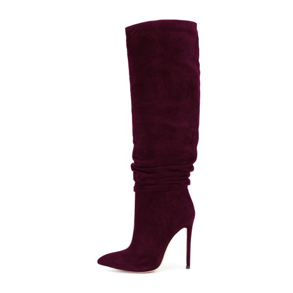 FSJ Burgundy Boots Suede Stiletto Heel Slouch Boots image 3