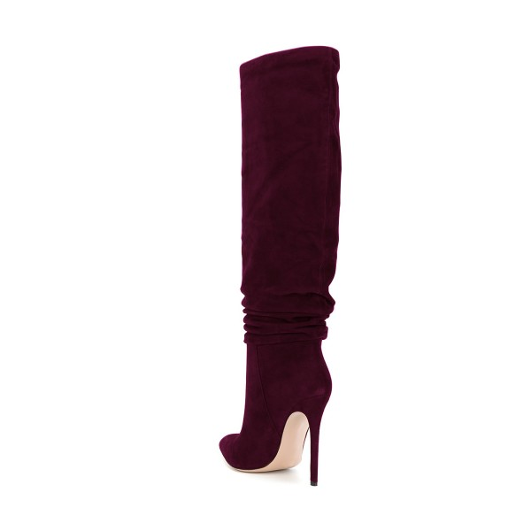 FSJ Burgundy Boots Suede Stiletto Heel Slouch Boots image 2
