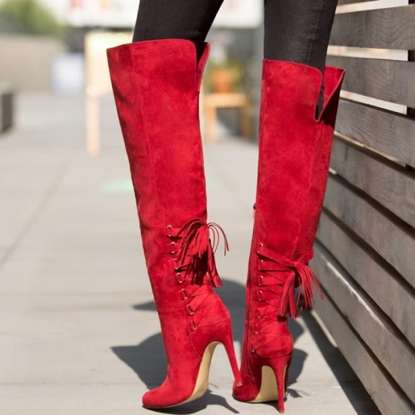 Women's 4 Inch Heels Red Stiletto Boots Knee-high Boots by FSJ Shoes image 1