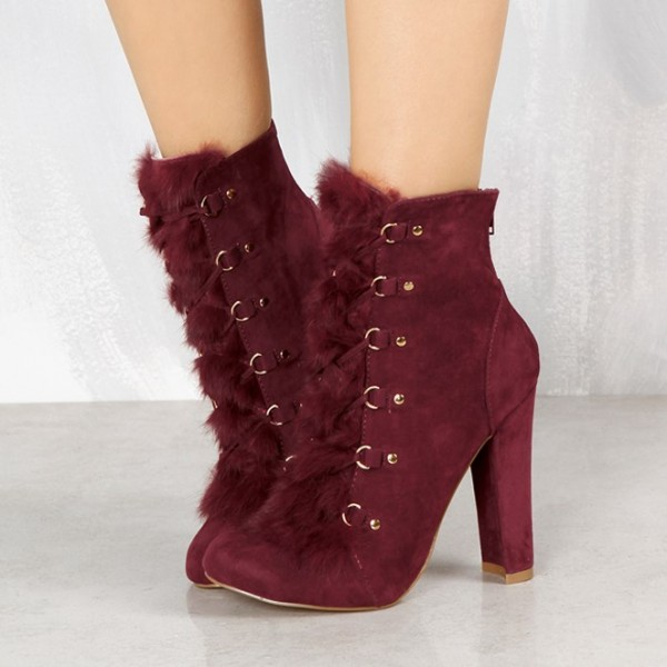 Women's Amaranth Red Lace Up Fur Boots Almond Toe Suede Ankle Boots   image 1