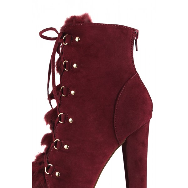 Women's Amaranth Red Lace Up Fur Boots Almond Toe Suede Ankle Boots   image 2