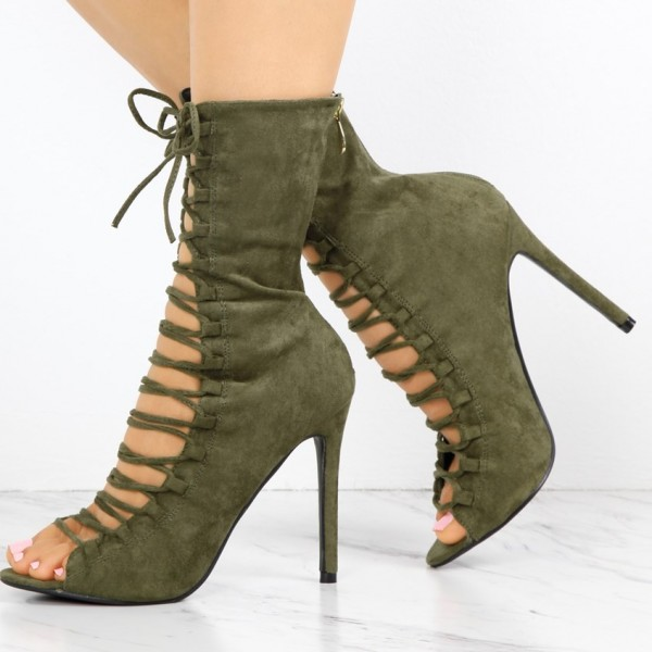 Women's Army Gree Lace Up Boots Fashion Peep Toe Suede Ankle Boots image 1