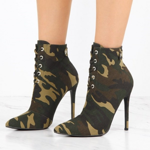 Women's Army Green Lace Up Boots Pointy Toe Stiletto Heels Ankle Boots image 1