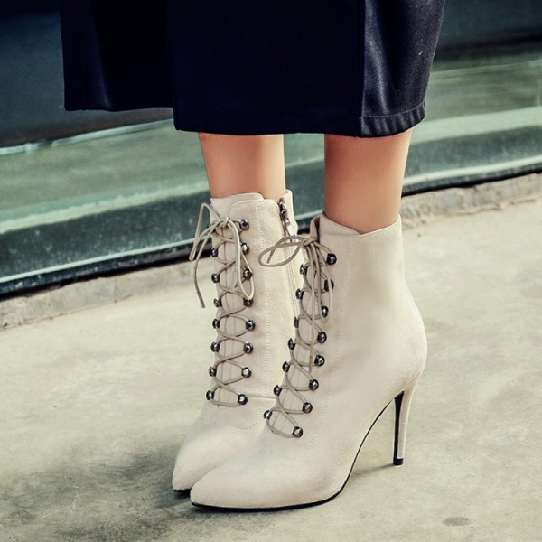 Women's Beige Heels Lace Up Boots Elegant Pointed Toe Ankle Boots image 3