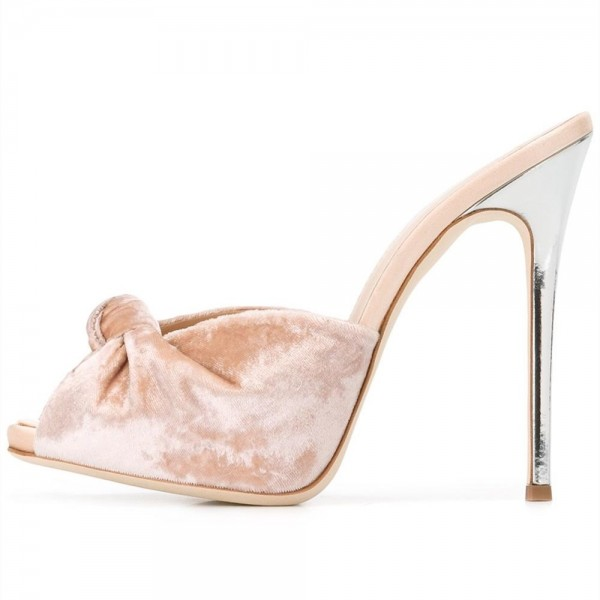 Blush Velvet Mule Heels Peep Toe Bow Stiletto Heels for Office Lady image 1