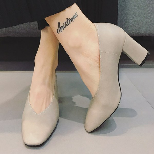 Women's Beige Square Toe Commuting Chunky Heels Vintage Shoes image 1