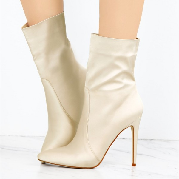Beige Satin Ankle Booties Pointy Toe Stiletto Heel Boots image 1