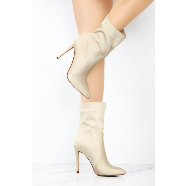 Beige Satin Ankle Booties Pointy Toe Stiletto Heel Boots image 2