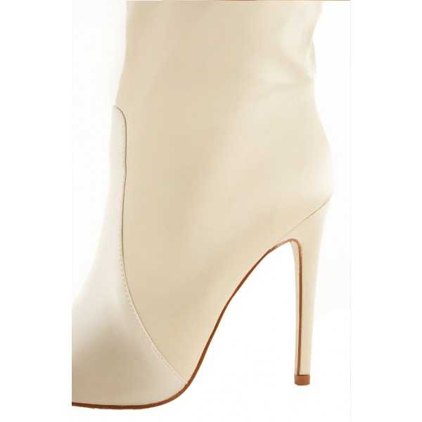 Beige Satin Ankle Booties Pointy Toe Stiletto Heel Boots image 3