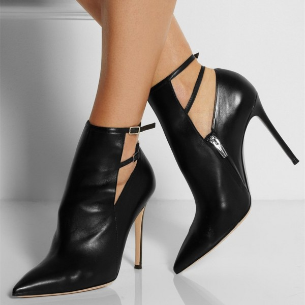 Black Fall Boots Pointy Toe Double Ankle Strap Stiletto Heel Booties image 1